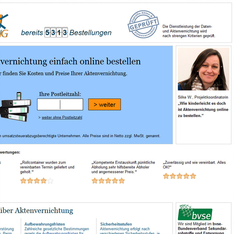 Online-Aktenvernichtung Screen - conpor